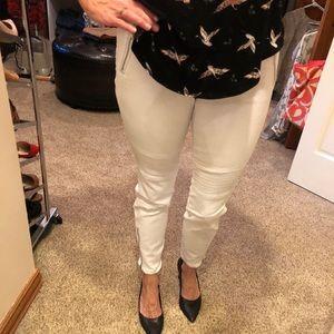 White moto jeans
